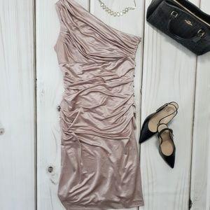 🆕 Suzi Chin Pink Ruched Dress Asymmetrical Sz 10